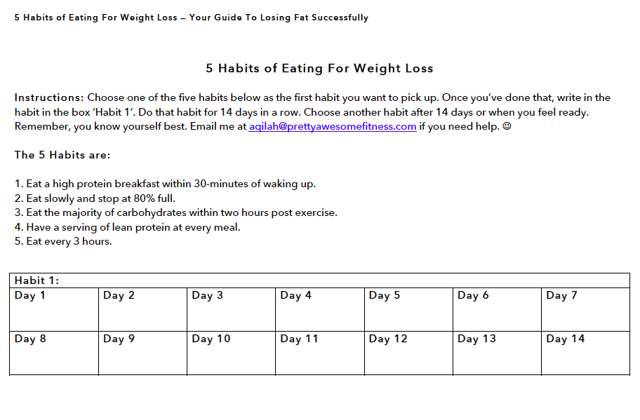 eating for weight loss template